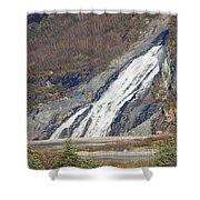 Nugget Falls In Juneau Alaska During Late Fall Shower Curtain