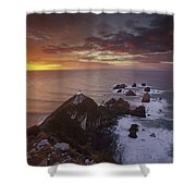 Nugget Point Lighthouse At Sunrise Shower Curtain