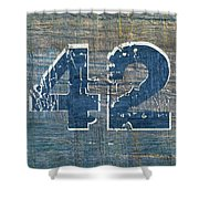 Number 42 Shower Curtain by Michelle Calkins