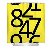 Numbers In Black And Yellow Shower Curtain