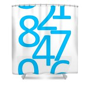 Numbers In Blue Shower Curtain