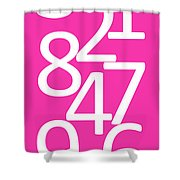 Numbers In Pink And White Shower Curtain