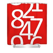 Numbers In Red And White Shower Curtain