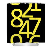 Numbers In Yellow And Black Shower Curtain