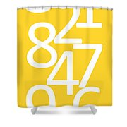 Numbers In Yellow And White Shower Curtain