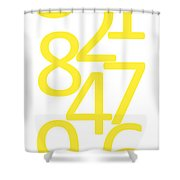 Numbers In Yellow Shower Curtain