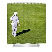 Nun On Green Soccer Field Shower Curtain by Brch Photography