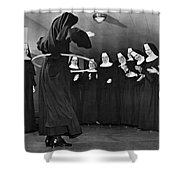 Nun Swivels Hula Hoop On Hips Shower Curtain