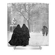 Nuns In Snow New York City 1946 Shower Curtain