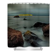 Nuttall Island Last Sunlight Shower Curtain by Jakub Sisak