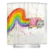 Nyan Cat Watercolor Shower Curtain