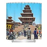Nyatapola-tallest Pagoda In Nepal-in  Shower Curtain