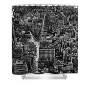 Nyc Downtown - Black And White Shower Curtain