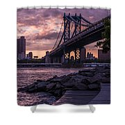 Nyc- Manhatten Bridge At Night Shower Curtain by Hannes Cmarits