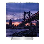 Nyc - Manhatten Bridge At Night II Shower Curtain by Hannes Cmarits