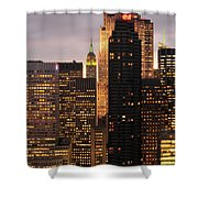 Nyc Midtown Golden Lights Shower Curtain