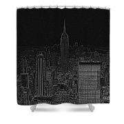 Nyc White On Black Shower Curtain