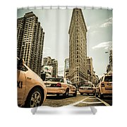 Nyc Yellow Cabs At The Flat Iron Building - V1 Shower Curtain by Hannes Cmarits