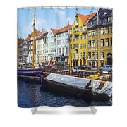 Nyhavn Boat Docks Shower Curtain