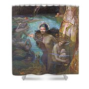 Nymphs At A Grotto Shower Curtain