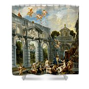 Nymphs At The Fountain Of Love Shower Curtain