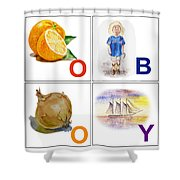 O Boy Art Alphabet For Kids Room Shower Curtain by Irina Sztukowski