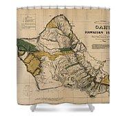 Oahu Sovereign Hawaii Map  1881 Shower Curtain