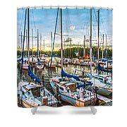 Oak Pt Harbor At Sundown Shower Curtain