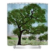 Oak Tree Landscape Shower Curtain