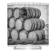 Oak Wine Barrels Black And White Shower Curtain