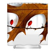 Oak With Berries Shower Curtain