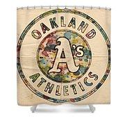 Oakland Athletics Poster Vintage Shower Curtain