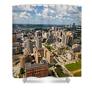 Oakland Pitt Campus With City Of Pittsburgh In The Distance Shower Curtain