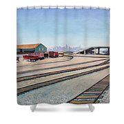 Oakland Train Tracks And San Francisco Skyline Shower Curtain