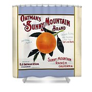 Oatmans Sunny Mountain Brand Oranges Vertical Shower Curtain