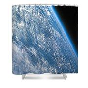 Oblique Shot Of Earth Shower Curtain by Adam Romanowicz