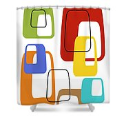 Oblongs On White 3 Shower Curtain