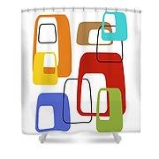 Oblongs On White 4 Shower Curtain