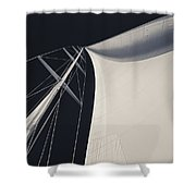 Obsession Sails 3 Black And White Shower Curtain
