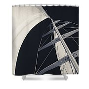 Obsession Sails 5 Black And White Shower Curtain