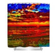 Landscape Ocean Sunset Shower Curtain