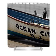 Ocean City Nj Iconic Life Boat Shower Curtain