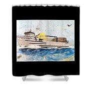 Ocean Olympic King Crab Fishing Boat Nautical Chart Map Art Shower Curtain