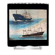 Ocean Phoenix And Excellence Boat Nautical Chart Map Art Shower Curtain