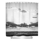 Ocean Sunrise Black And White Shower Curtain