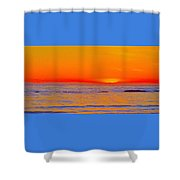 Ocean Sunset In Orange And Blue Shower Curtain