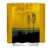 Ocean Sunset With Agave Silhouette Shower Curtain