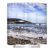 Ocean Waves Blue Sky And A Surfer At Malibu Beach Pier Shower Curtain