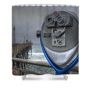 Oceanside Pier California Binocular Vision Shower Curtain by Bob Christopher