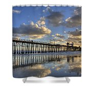 Oceanside Pier Sunset Reflection Shower Curtain